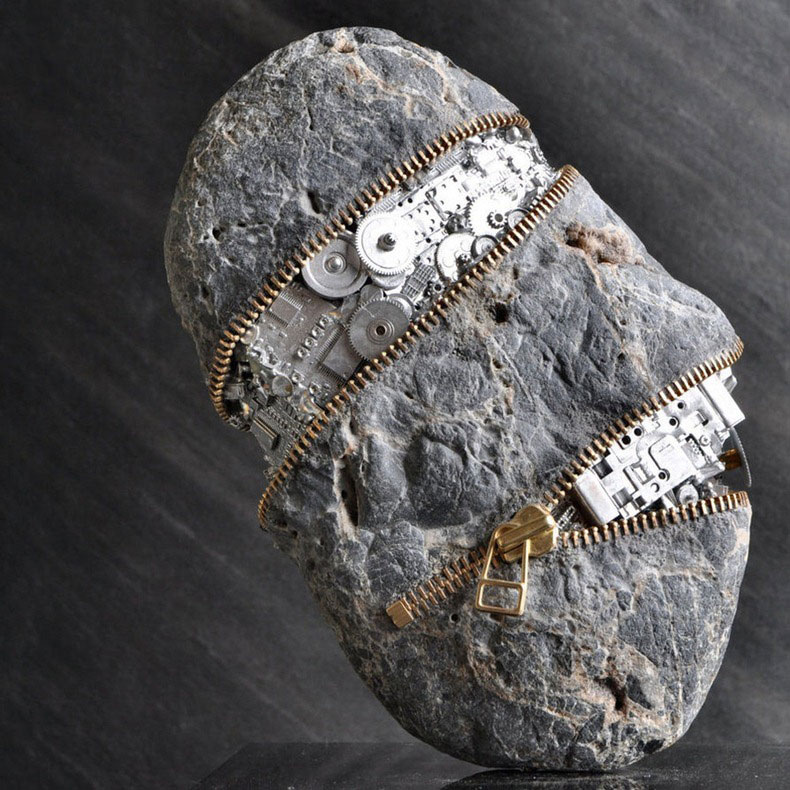 Mind Twisting Stone Sculptures With Teeth, Zippers & Coins