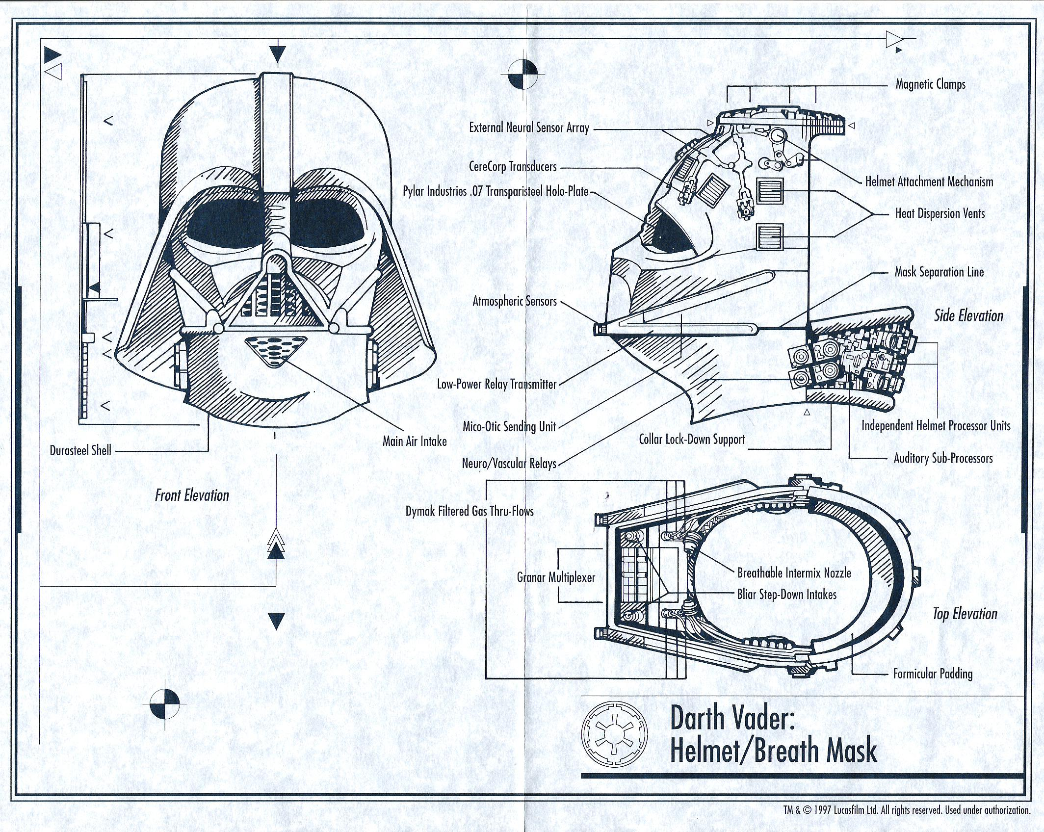 Darth Vader Helmet Blueprints Reveal His Inner Secrets | Bit ... on