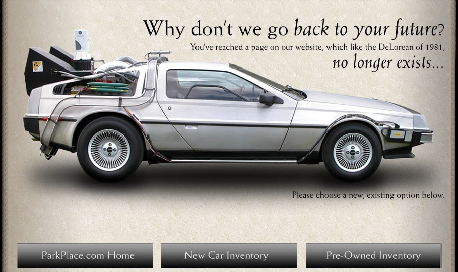 Park Place Texas Dealerships 404 page error