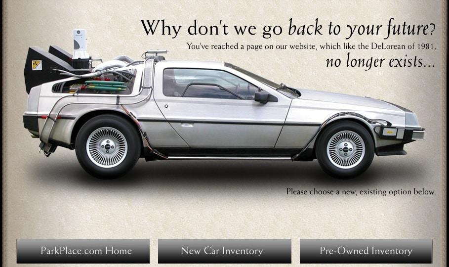 Park Place Texas Dealerships 404 page error