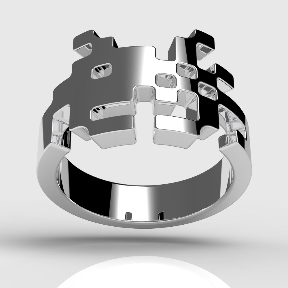 Sterling Silver Space Invaders Ring Proclaims Your Geeky Origin
