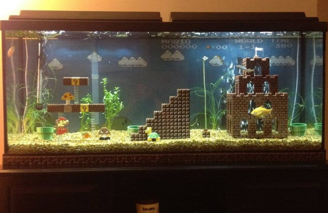 Retrofied Super Mario Lego Aquarium Decorations