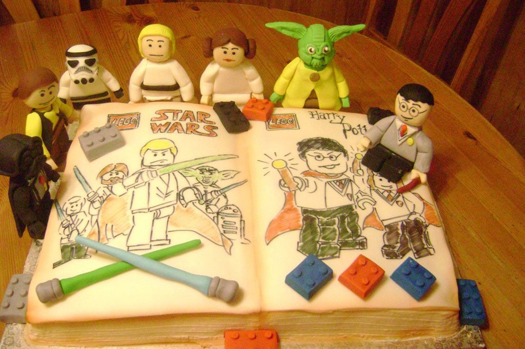 Star Wars, Harry Potter & Lego All On One Magically Geeky Cake