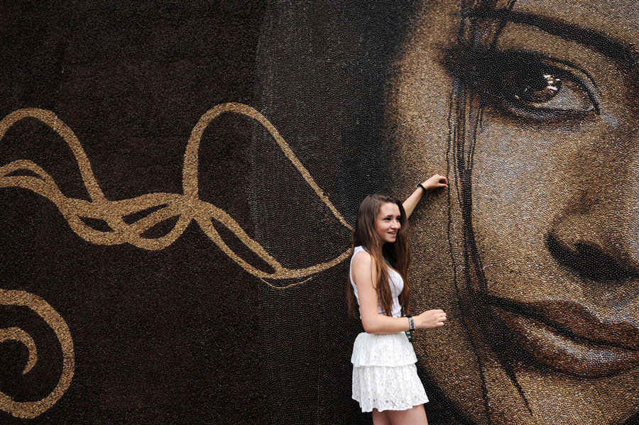 World Record Set: Mural Created With One Million Coffee Beans