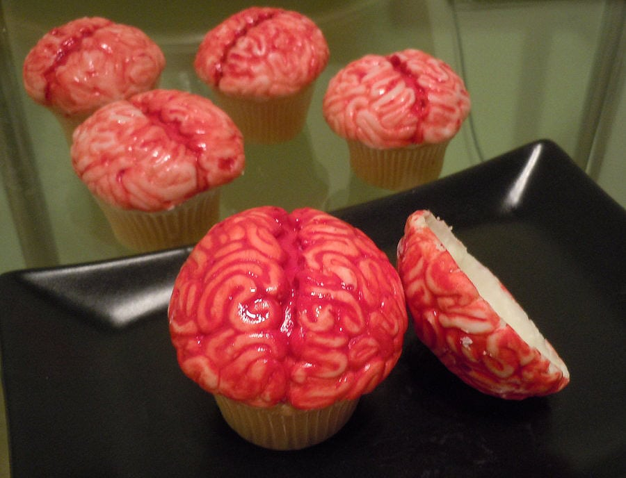 Delicious Bloody Zombie Brains Cupcakes