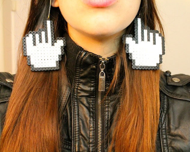Geeky, Gaudy & Gigantic Pixel Mouse Earrings