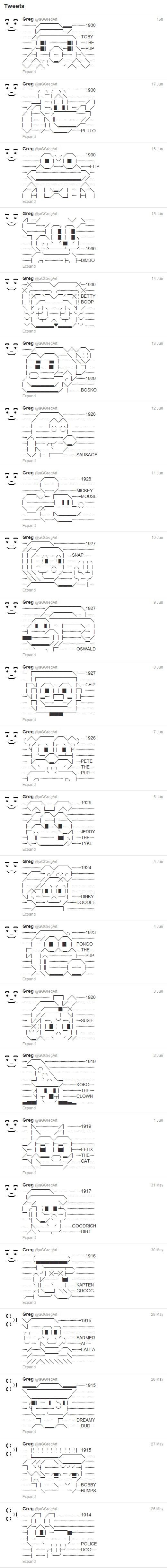 Classic & Retro Character ASCII Twitter Art