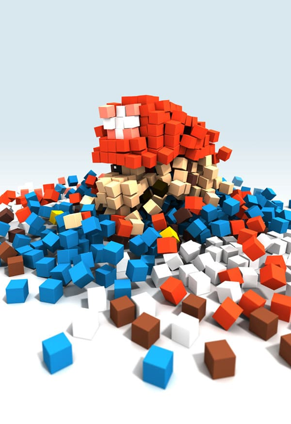 An Abstract Pixelated Mario Created With Colored Blocks