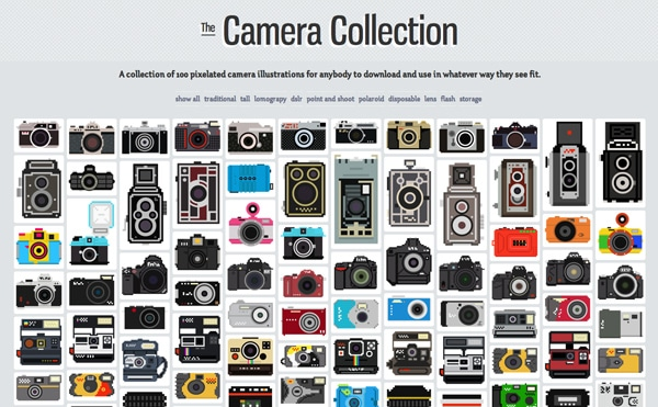 100-Pixelated-Cameras-Illustrations