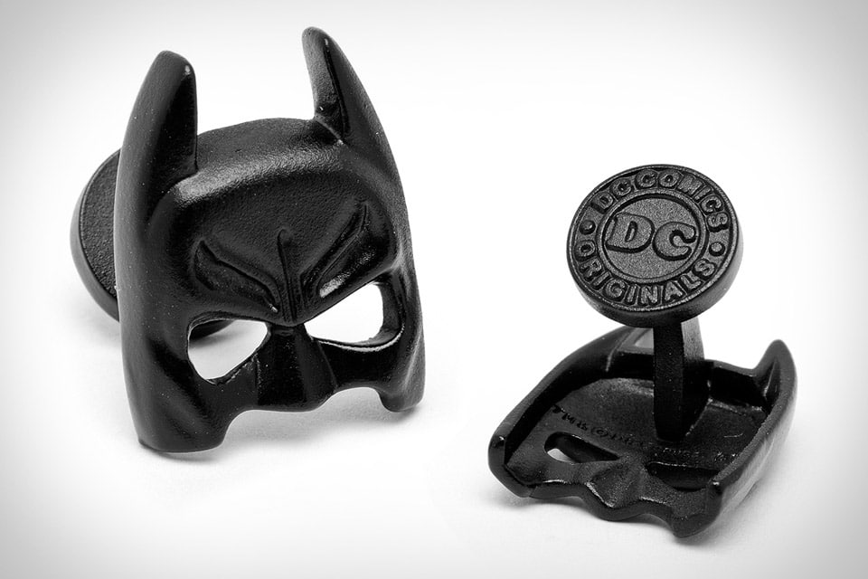 Sexy Satin Black Batman Mask Cufflinks For Men