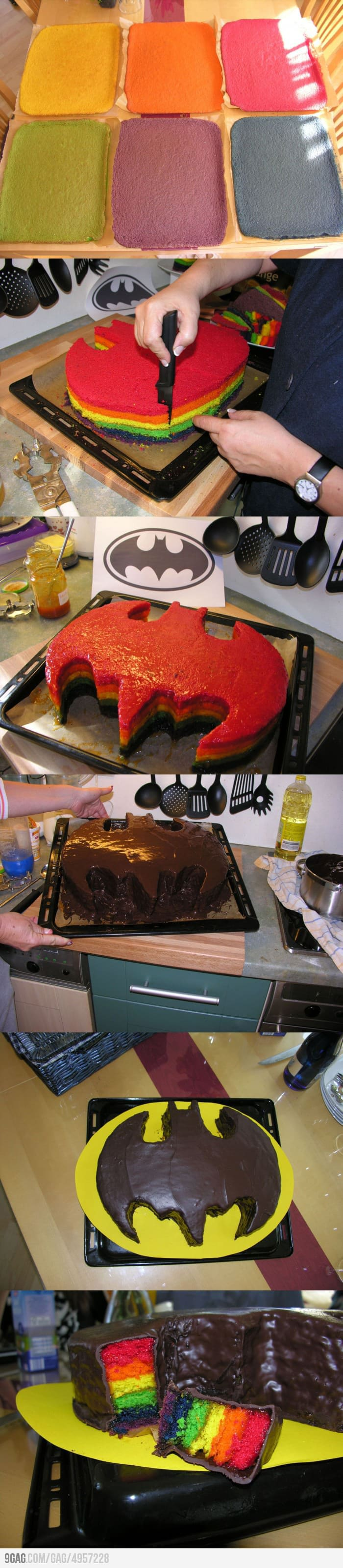 Best Rainbow-Colored Batman Cake Ever Baked