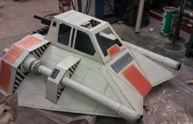 Cardboard Build Of Star Wars Snowspeeder Tames The Slopes