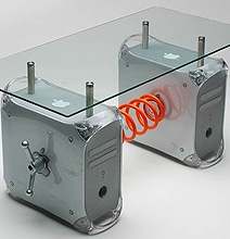 Retro Table Created Out Of Old Mac G4 Computers