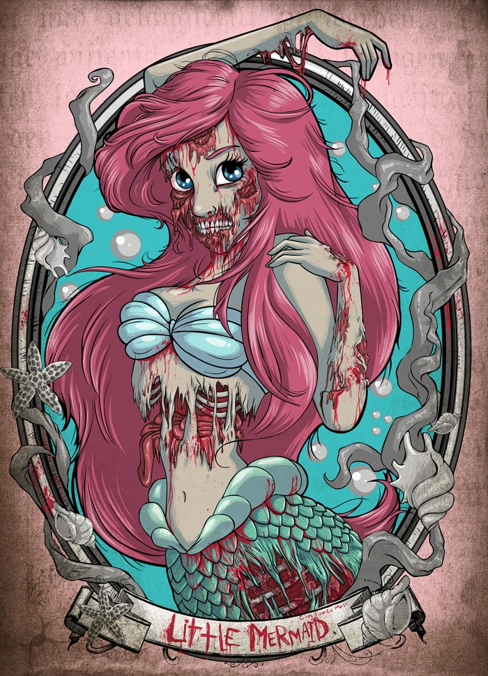 zombified-disney-character-paintings