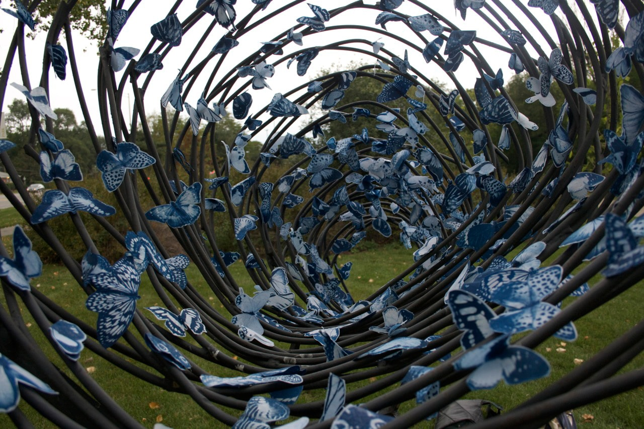 A Swarm Of Magnetic Blue Butterflies: Unique Art In Public Spaces
