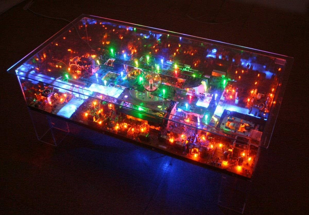 Electrifying Miniature Cityscapes Created From Old Computer Parts