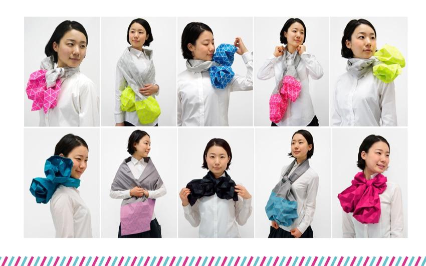Origami Art Fashion: Innovative Inflatable Foldable Origami Scarf