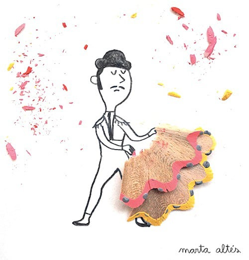 Pencil art 8 simple illustrations made with pencil shavings for Waste things art