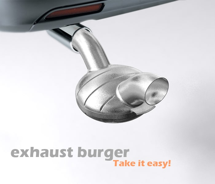 Car Exhaust Pipe Burger Grill For People On The Road