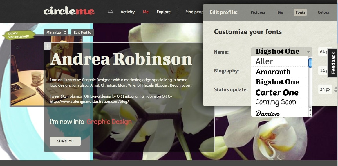 Andrea Robinson CircleMe page