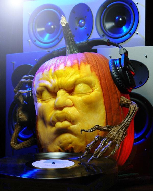 Pumpkin DJ: A Pumpkin Carving Design That Spins Records