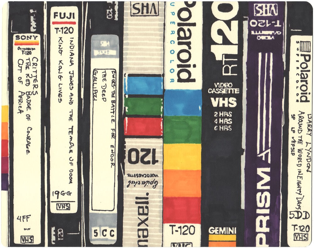 A Tribute To The '80s VHS Tapes & Games [12 Sharpie Drawings]