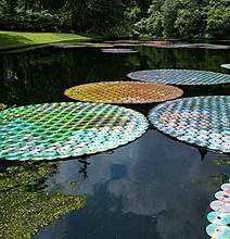 Upcycled CD Project Creates Enormous Water Lilies