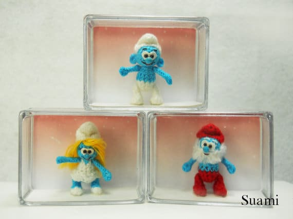 handmade-crocheted-smurf-family