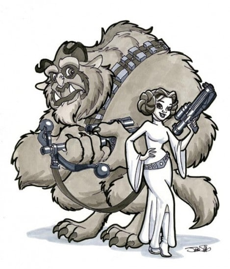 10 Illustrations Of Disney Characters Sneaking Into Star Wars