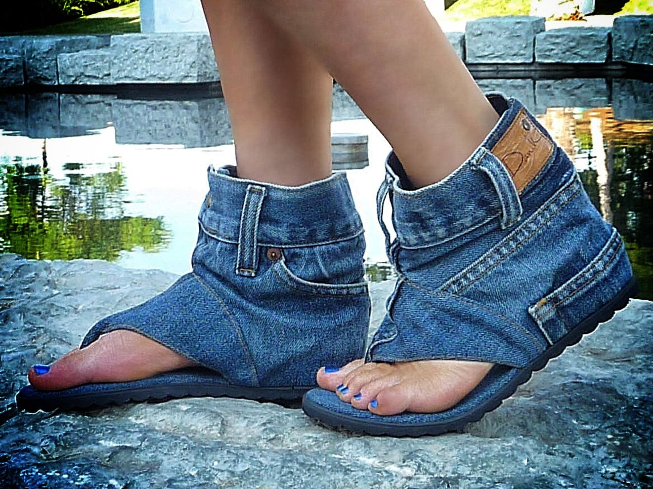 Denim Shoes: Ferociously Funky Sandals Made From Vintage Jeans