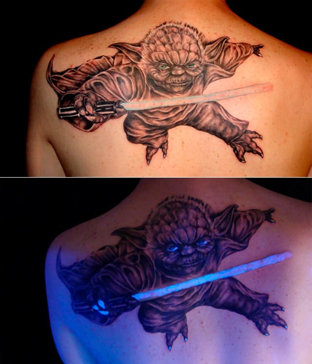 Yoda Blacklight Tattoo Glows In The Dark