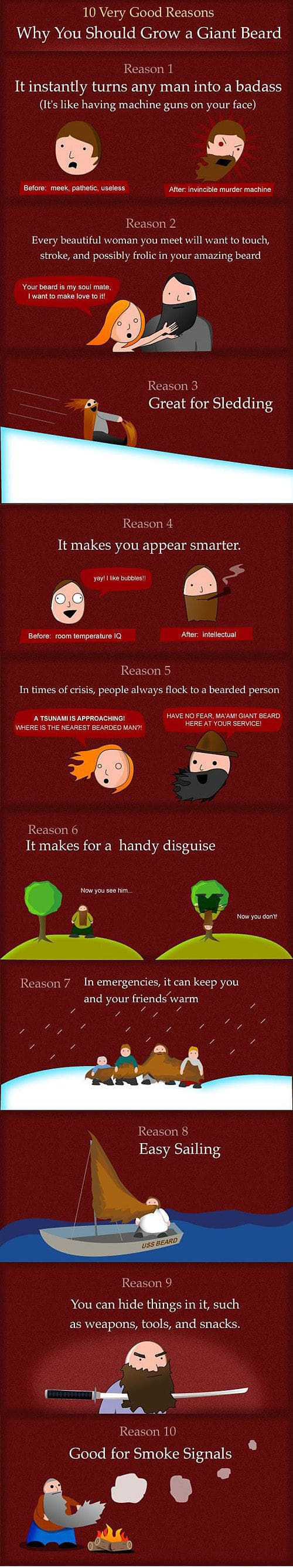 10 Good Reasons Why You Should Grow A Giant Beard [Infographic]