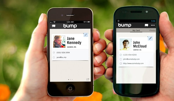 bump  instantly exchange virtual business cards with a