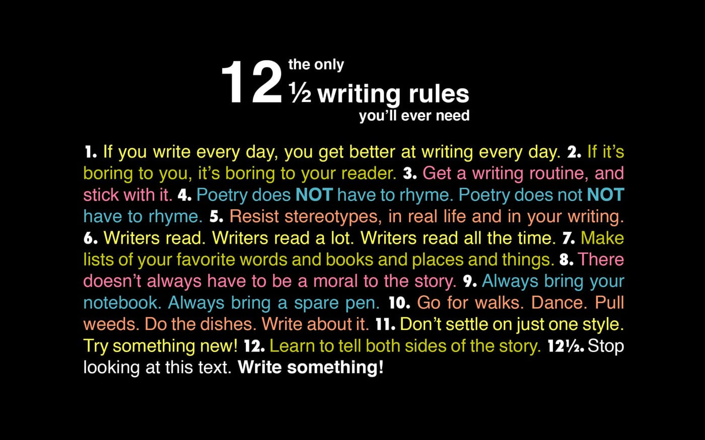The Only 12 ½ Writing Rules You'll Ever Need [Chart]