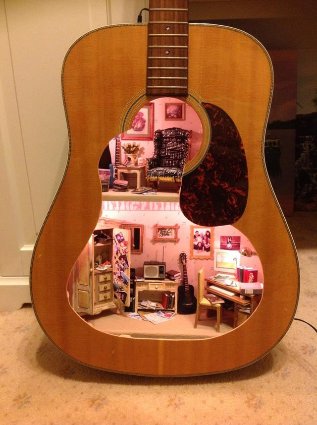 Miniature Dollhouse Built Inside An Acoustic Guitar