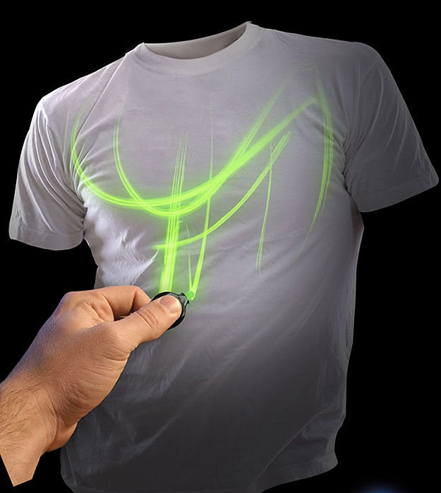 World's First Fully Interactive Glow Shirt Uses Mini UV Light & Laser