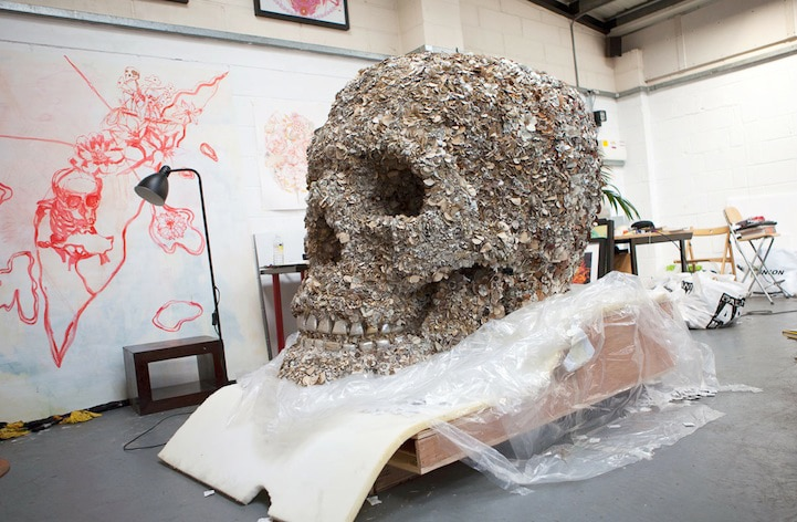 Floral Skull: 5-Foot Tall Skull Covered In Soft Leather Flowers