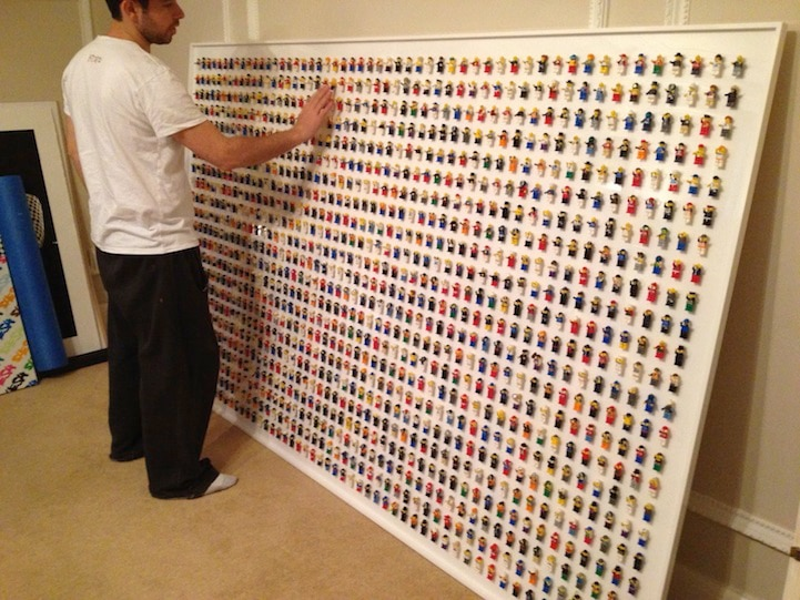 Lego Wall Decor lego wall adorned with 1,200 minifigs creates geeky office decor