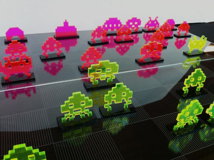 Laser Cut Retro 8-Bit Space Invaders Chess Set Will Make You Drool