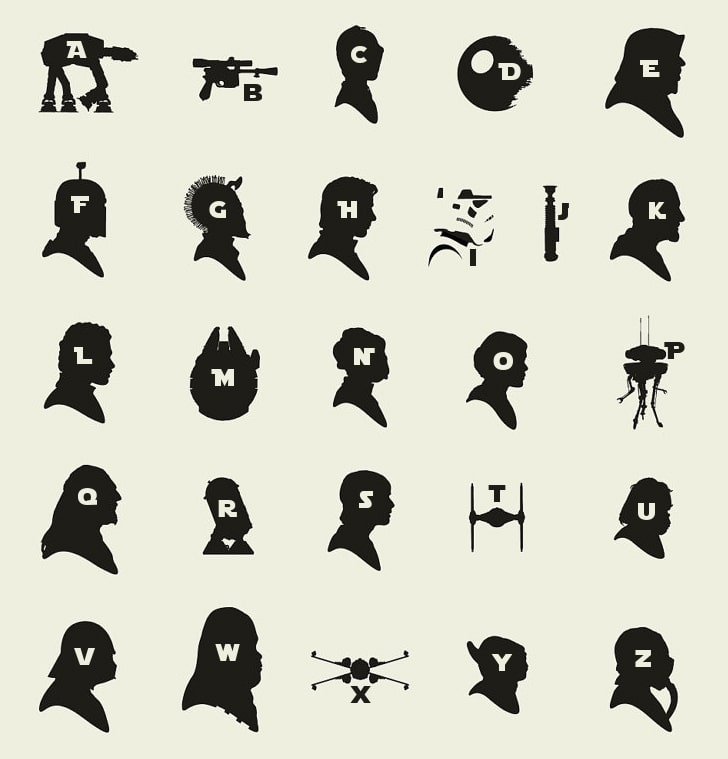 A-Z Star Wars Chart Made From Silhouettes Will Test Your Jedi Skills