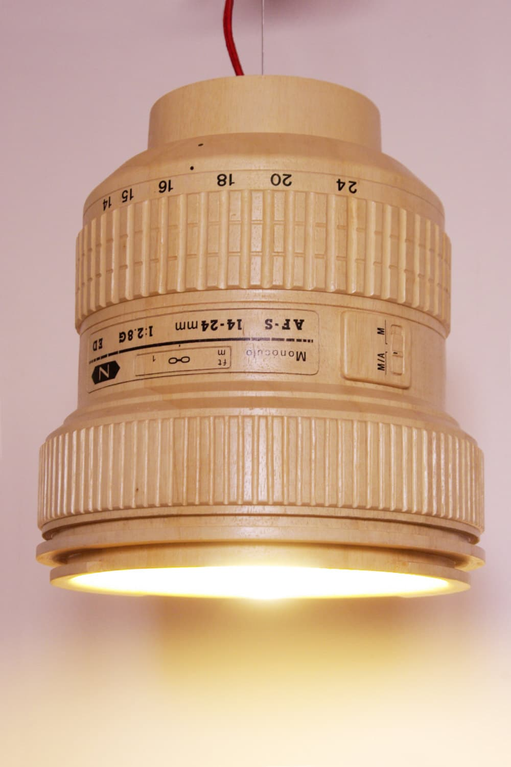 DSLR Paparazzi Wooden Hanging Lamp Looks Just Like The Camera Lens