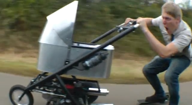 World's Fastest Custom Baby Stroller Zips Around At 50 MPH [Video]