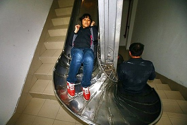 Building In Shanghai Installs Deployable Emergency Slide