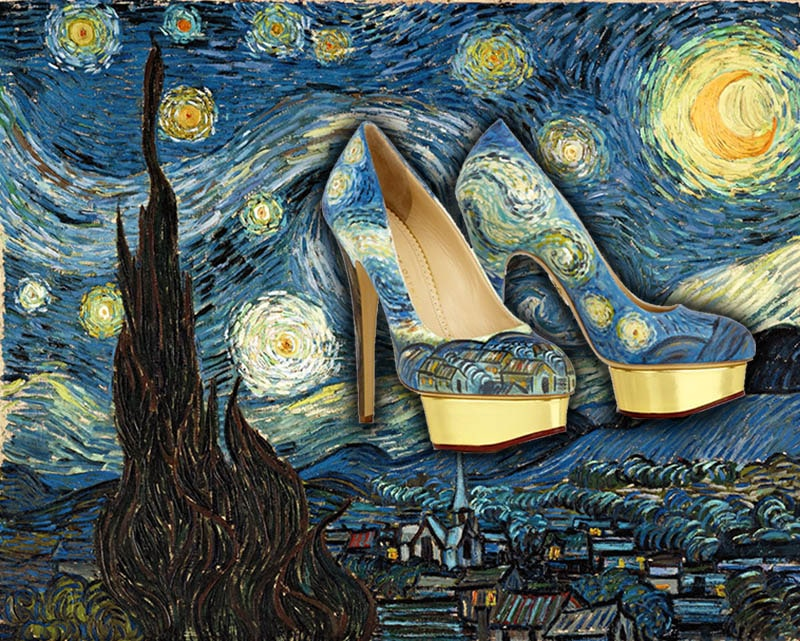 High Heel Shoes Painted To Look Just Like Famous Artworks ...