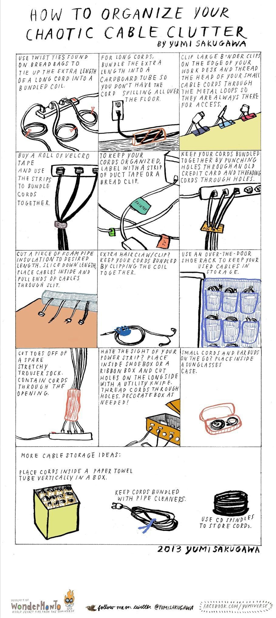 Creative Ways To Organize Chaotic Cable Clutter In Your House [Chart]