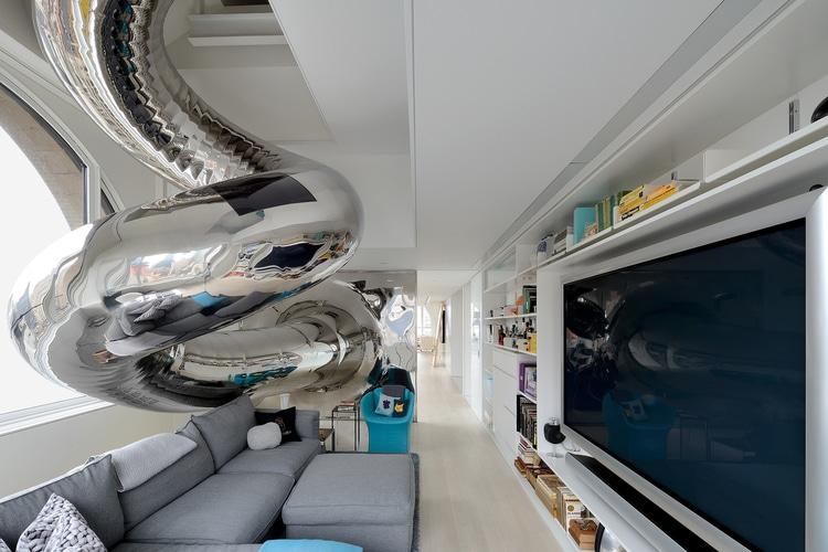Apartment Design With Childlike House Slide For Sliding Down 4 Levels