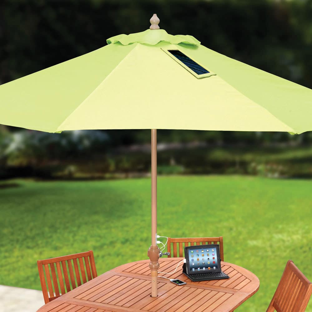 High Tech Picnic Table Umbrella Uses Sunshine To Charge Mobile Devices