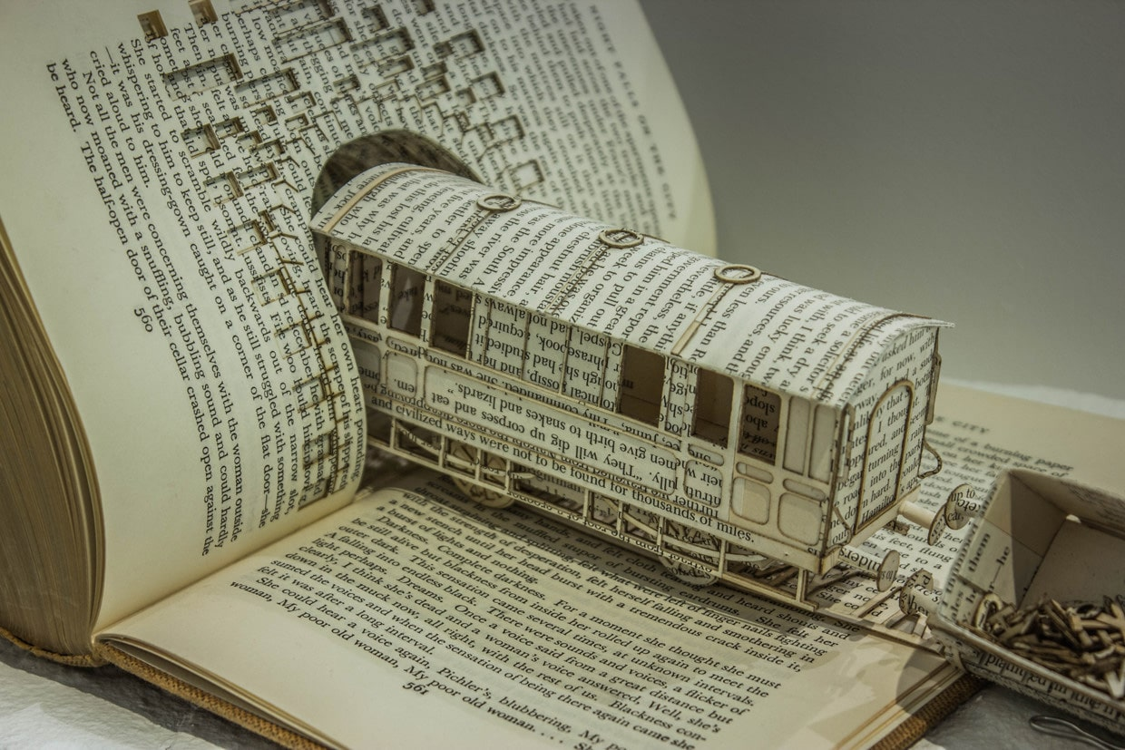 Book sculpture illustrates ocd with a derailed typography