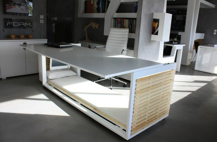 desk with a hidden bed built into it so you can secretly