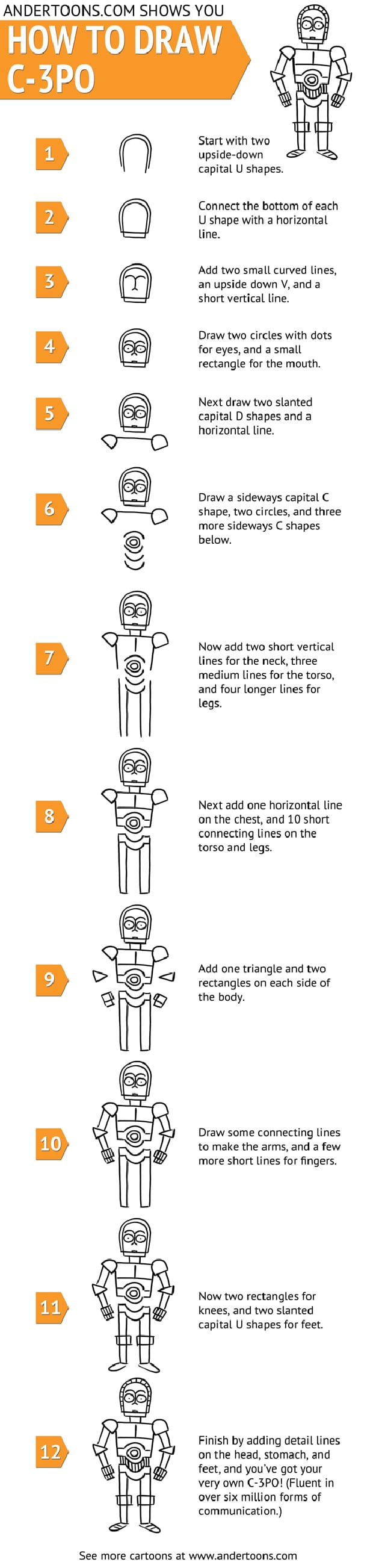 How To: Doodle A Cartoon C-3PO In 12 Simple Steps [Chart]